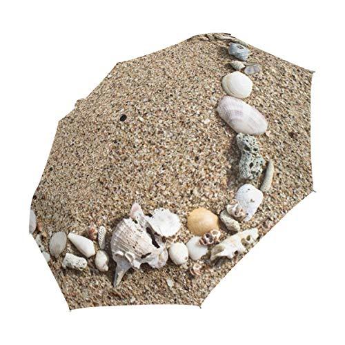 XiangHeFu Regenschirm Strand Sand Muschel Automatischer Verschluss 3 Falten, leicht, UV-Schutz