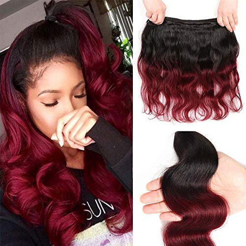 Adette 14 Inches Ombre Red Bundle 10A 99j Human Hair Bundles 100% Brazilian Virgin Hair Body Wave Soft Remy Hair Extension for Black Women