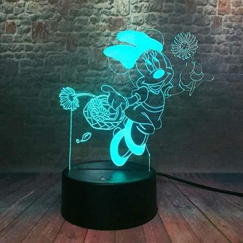 Luz 3D led luz nocturna animación Mickey Mouse 7 colores cambiantes lámpara de mesa USB decoración del hogar mejor regalo para niños