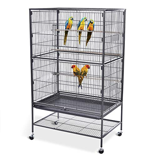 Bellanny Bird Cage with Rolling Stand for Parrots Parakeets Cockatiels Wrought Iron Large Flight Bird Cage for Canary Finch Lovebird Parrotlet Conure Cockatiel 52inch Black