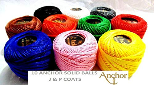 Anchor Cotton Crochet embroidery most demanding Black white Golden Silver thread