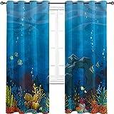 Cortinas opacas para acuarios con ojales oscurecimiento, coral y arco de piedra, para sala de estar o dormitorio de 42 x 84 pulgadas de ancho