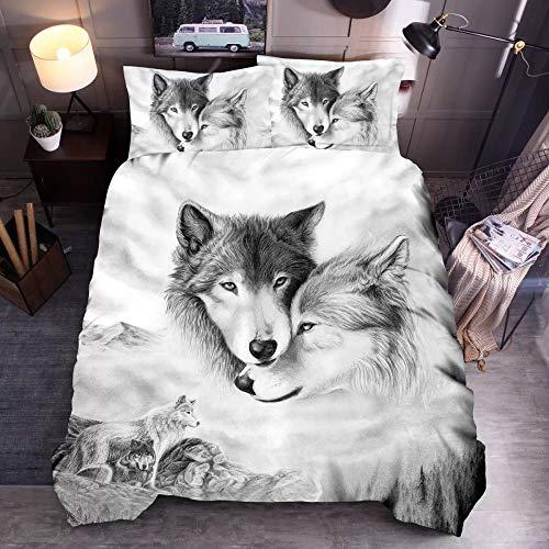 BH-JJSMGS 3D-Tier Katze, Hund, Wolf, 3D-bedruckter Bettbezug und Kissenbezug, Kleiner Liebeswolf 240 * 220