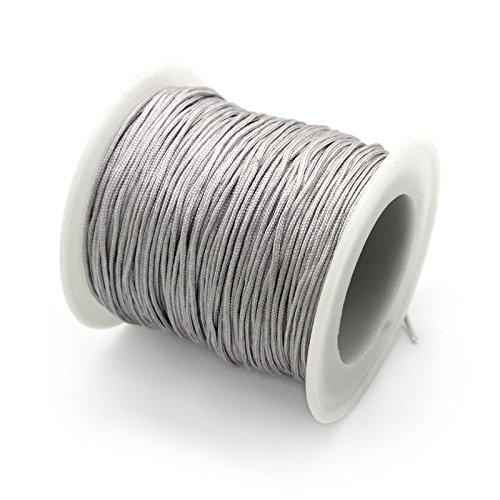My-Bead 90m Nylonband Kordel 1mm Silber wasserfest Nylonschnur Top Qualität Schmuckherstellung basteln DIY
