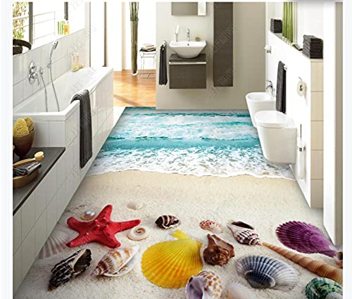 Murales personalizados, pegatinas de pared extraíblesbeach Beach Seashell Spray 3D Floor Tiles-350 * 245Cm3D Wallpaper 112D Effect Living Room