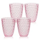 BELLAFORTE - Shatterproof Tritan Plastic Short Tumbler Pink - 13oz, Set of 4, Laguna Beach Drinking Glasses, Plastic Tumblers - Unbreakable Glassware for indoor and Outdoor Use, BPA Free