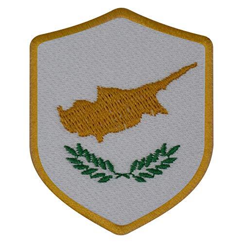 benobler FanShirts4u Aufnäher - ZYPERN - Wappen - 7 x 5,6cm - Bestickt Flagge Patch Badge Fahne Cyprus (goldene Umrandung)