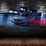 45Tdfc 5 Piezas Lienzo Grandes XXL Murales Pared Hogar Pasillo Decor Arte Pared Abstracto HD Impresión Foto White Hond Civic Hatchback Car Night View 150X80 Cm(Enmarcado)