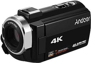 """كاميرا فيديو رقمية محمولة من Andoer 4K HD DV 16X زووم رقمي 3"""" لمس اتصال واي فاي IR الرؤية الليلية حامل الحذاء الساخن مع بطاريتين"""