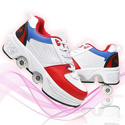 JZIYH Zapatos con Ruedas para Adultos 2 En 1 Zapatos con Luces LED De Patinaje sobre Ruedas En Línea Multiusos Cuádruples Patines Deportivos Al Aire Libre