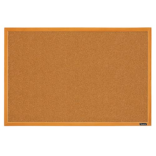 Quartet Corkboard, Framed Bulletin Board, 2' x 3' Cork Board, Oak Wood Finish Frame (MWDB2436-ECR), Oak Frame