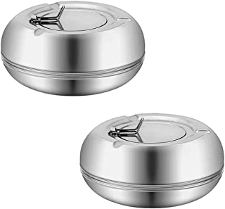 2 PCS Windproof Ashtray with Lid, Newness Stainless Steel Modern Tabletop Ashtray for Outdoor or Indoor Use, Desktop Smoki...