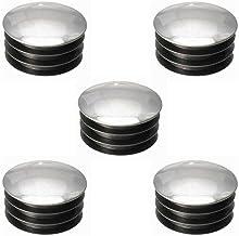 5 x eindstuk voor buizen, rond, kunststof, verchroomd, zilverkleurig, decoratief, voor stoelen (Ø32 mm)