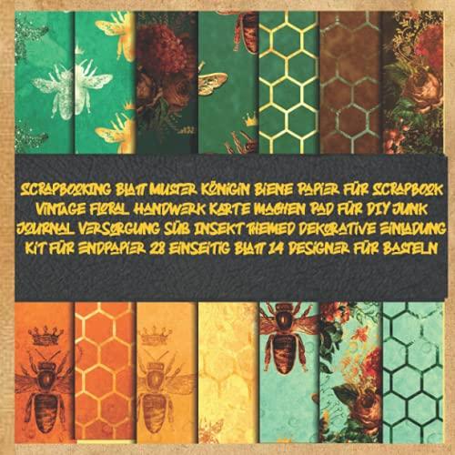 Scrapbooking Blatt Muster Königin Biene Papier für Scrapbook Vintage floral Handwerk Karte machen Pad für DIY Junk Journal Versorgung süß Insekt ... 28 einseitig Blatt 14 Designer für Basteln