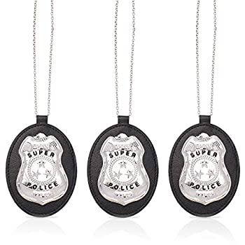 Beelittle Police Badge with Chain Cop Necklace Police Costume Accessory  3pcs