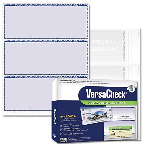 VersaCheck Security Business Check Refills: Form #3000 Business Standard - Blue - Premium - 250 Sheets