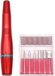 Pixnor Trapano per Unghie Set di Lime per Unghie Elettriche Portatili Set di Penne per Manicure Manicure Kit Pedicure (Rosso)