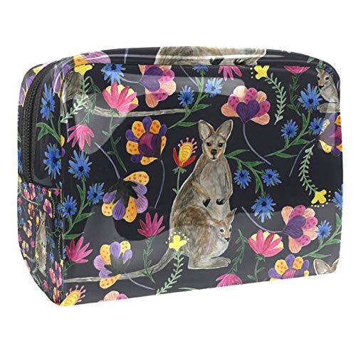 Bolsa de maquillaje de PVC para mujer y niña, organizador de artículos de tocador cosméticos, bolsa de 17 x 7 x 5 cm, peces y hojas de loto en el estanque, Color 8, 18.5x7.5x13cm/7.3x3x5.1in, Neceser