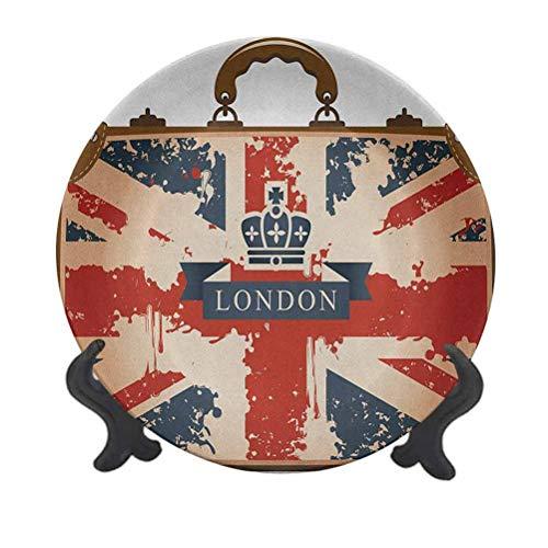 Union Jack 10' Decorative Ceramic Plate,Vintage Travel Suitcase with British Flag London Ribbon and Crown Image Decorative Ceramic Wall Plate for Pasta, Salad,Party Kitchen Home Decor