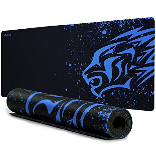YISK - Alfombrilla de ratón para Videojuegos (tamaño XL, 700 x 300 x 2 mm, Teclado extendido con Base de Goma Antideslizante para PC, Ordenador y Ordenador portátil (Leopardo Azul)