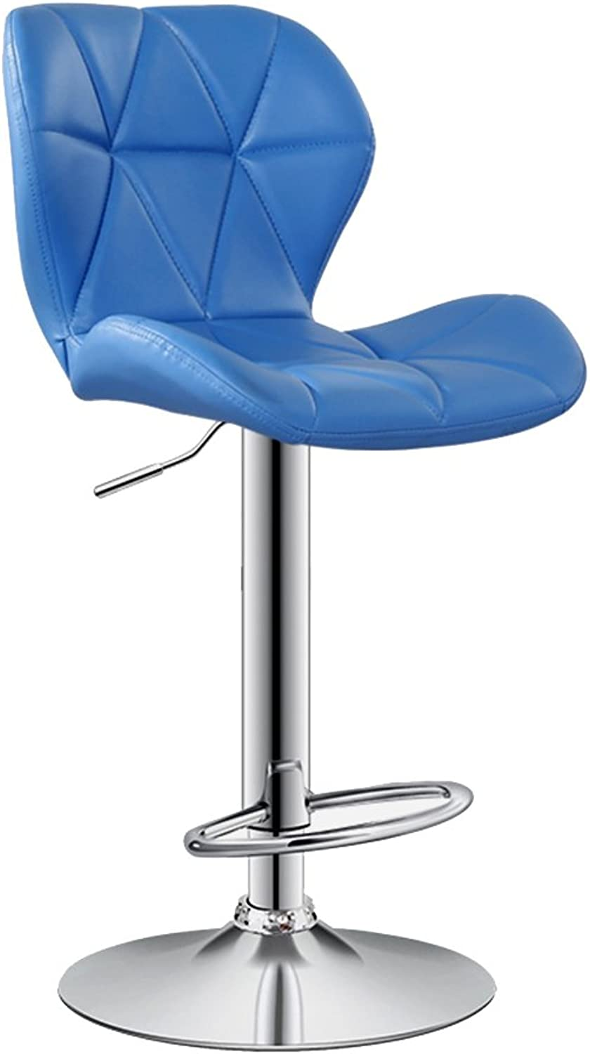 Bar Chair Leather Chairs High Chairs Lift Chairs Backrest Swivel Chairs (color   bluee, Size   42  38.5  60cm)