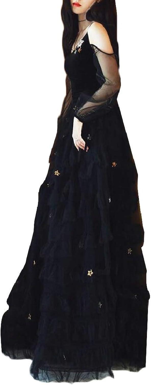 LKCENCA Women's Long Sleeve VNeck Flared Gown Cold Shoulder Layered Dress
