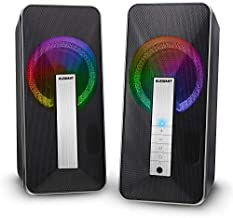 Computer Speakers, ELEGIANT 10W RGB Desktop Speakers, Wired Bluetooth 5.0 Gaming Speakers 2.0 Channel with Colorful LED Light, 2.0 Channel Enhanced Sound for Desktop Computers, Laptops, Smartphones