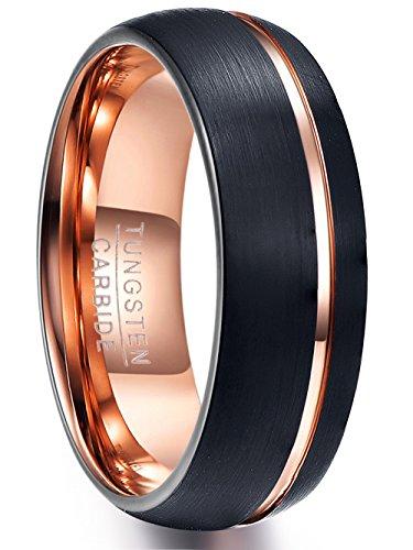 NUNCAD Ring Damen 8mm breit schwarz + Rosegold, Unisex Fashion Ring 8 mm für Verlobung, Geburtstag, Hochzeit und Alltag, Größe 57 (17)