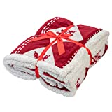Holiday Microfiber Fleece Throw Blanket, Snowflake Designed Sherpa Christmas Throw Blanket Ultra-soft, Fluffy, Warm, Fuzzy Reversible Fleece Blanket, Holiday Theme Throw for Couch, Sofa, and Bed, Red