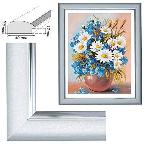 RAABEC Bilderrahmen, für Bilder der Größe 40x50cm, Farbe Silber, ideal für Malen nach Zahlen z.B. von Schipper oder Ravensburger - ohne Glas