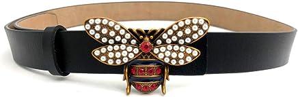 66e7e892c5f MoYoTo Women 1.10″ Thin Genuine Leather Fashion Bee Designer Buckle Belt  With Pearl