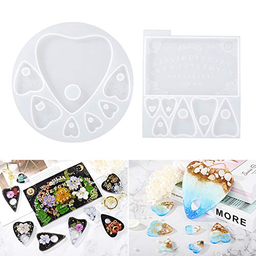 LET'S RESIN Ouija Board Resin Molds and Planchette Silicone Molds for Resin, 2PCS Epoxy Molds with 14 Shapes for Resin Crafts DIY, Making Decoration