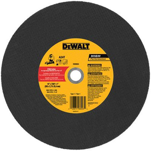 DeWalt DW8003 14 x 3/32 x 7/64 x 1 Stud Cutter Chop Saw Wheel, Light Metal