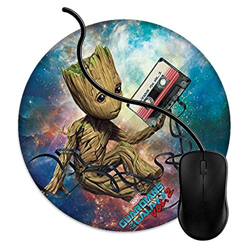 Waterproof Round Computer Gaming Mouse Pad with Non-Slip Rubber Material Mouse Mat for Office and Home Guardians of The Galaxy Vol 2 Groot with Tape (8 Inch)