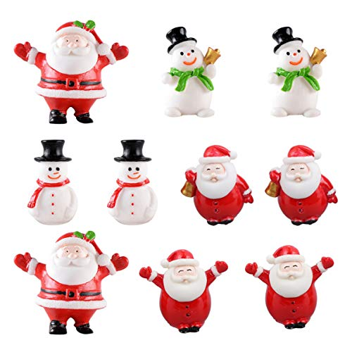 DOITOOL 10PCS Mini Christmas Santa Claus Ornaments Christmas Miniature Ornament Resin Santa Figurines for Xmas Santa Claus Decoration Christmas Party Supplies, Random Style