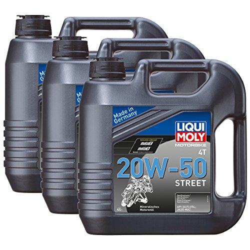 3x LIQUI MOLY 1696 Motorbike 4T Motoröl Street 20W-50 4L