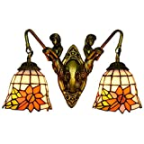 Wall-Mounted Light Fixture 6' British Modern Mermaid Corridor Tiffany Double Head Wall lamp American Tiffany Stained Glass Living Room Dining Room Sun Flower