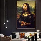 RuiChuangKeJi Cuadros de pared 27.6x35.4in (70x90cm) No Frame Funny Art Tatuado Mona Lisa Bad Girl Wall Art Da Vinci Cuadros famosos para la decoración del hogar