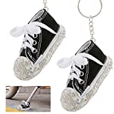 PAMASE 2pcs of Black Motorcycle Bicycle Foot Support Mini Rhinestone Shoes- Cute Bicycle Kickstand Pad Canvas Finger Shoes Keychains for Motorcycle Bicycle or Party Decoration