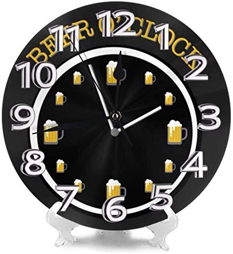 LTBWFDC Reloj De Pared Cerveza Oclock Relojes De Escritorio Decoración para Garaje Hotel Creatividad Precisa