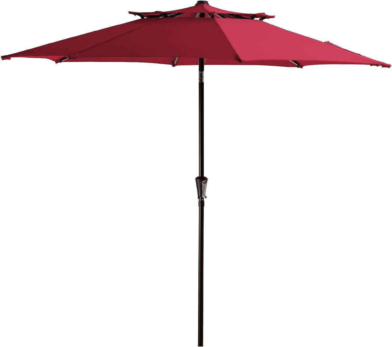 VOUA 2 Tiers 9' Patio Umbrella Outdoor Market Umbrella Table Umbrellas Sunbrella with 8 Ribs Push Button Tilt and Crank UV Protection Outside Garden Pool Umbrella, Red