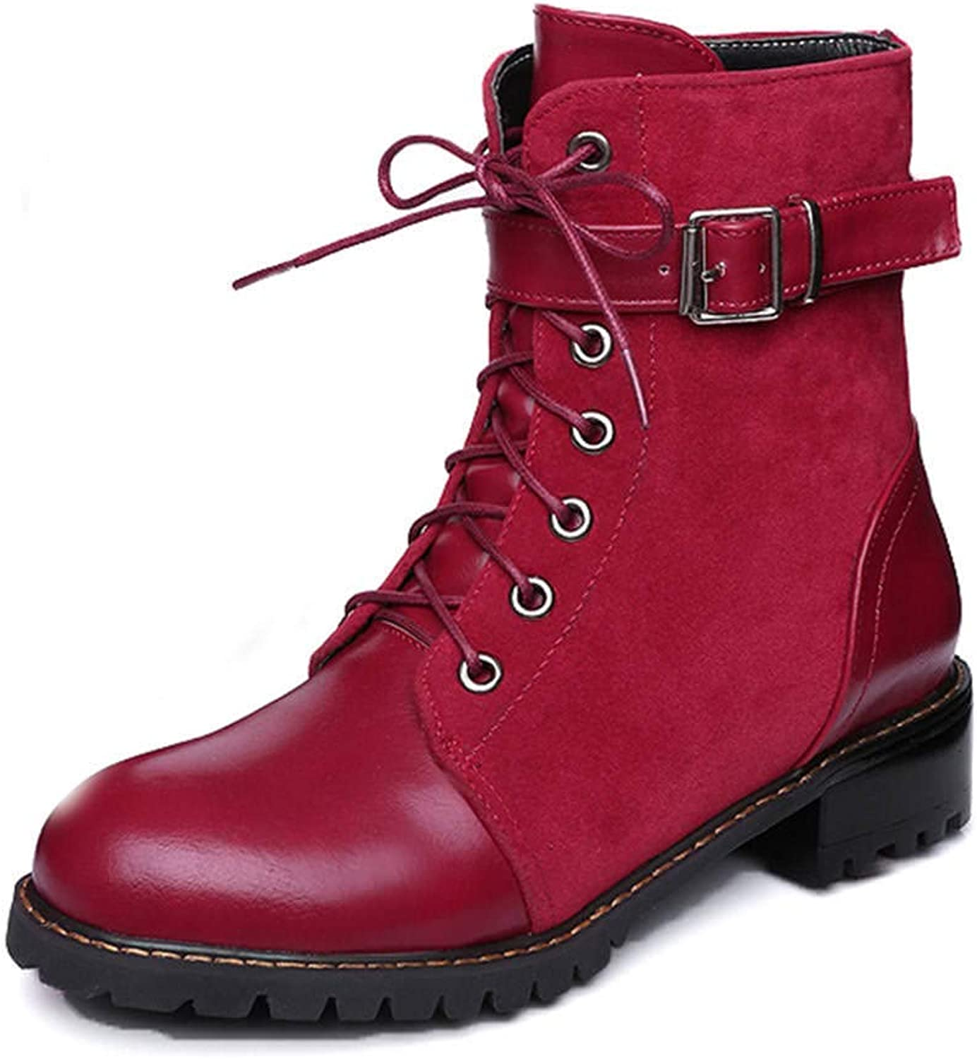 Women's Lace-up Fashion Solid color Round Toe Low Heel Boots(Red-5 M US)