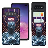 Galaxy S10 Plus Case Marvel Avengers Slim Slider Cover : Card Slot Dual Layer Holder Bumper for [ Galaxy S10 Plus (6.4inch) ] Case - Black Panther Face Lines