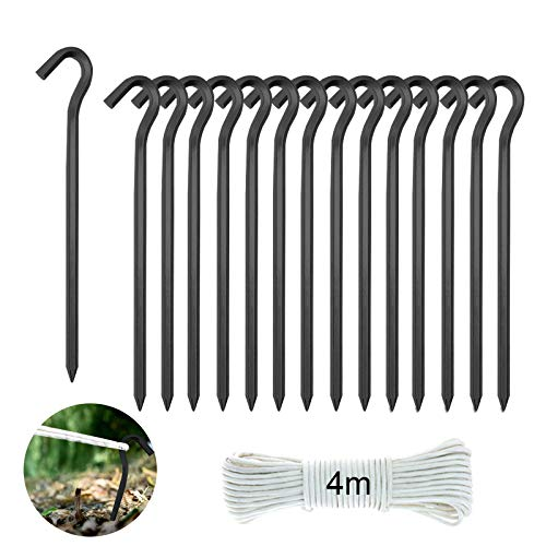 RayE Pack of 15 tent pegs, pegs, metal tent pegs made of ultra light and strong aluminium, 18 cm + 4 m nylon rope, ideal for camping, awning, netting tarpaulin, black