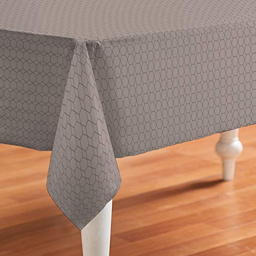 De'Carpet Mantel Antimanchas Resinado Hule Teflon Hexagon Marrón (100x140cm)