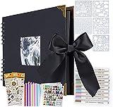 Scrapbook Photo Album, DIY Craft Paper Photo Book 80 Pages, DIY Handmade Album Scrapbook Set, Records Anniversary, Wedding, Graduation, Travelling, Contains Metal Pen- Black