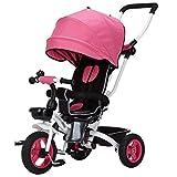 Kids Easy Steer Tricycle 3 Ruedas Toldo Seguro con Asiento Giratorio, Cochecito...