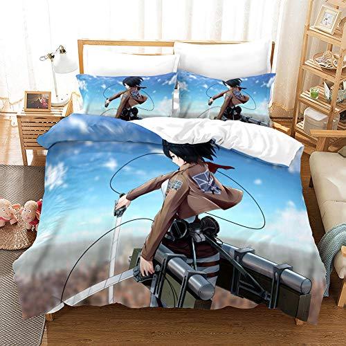 RITIOA Juego de ropa de cama con impresión 3D, diseño de anime, 3 piezas, funda nórdica estampada en 3D, funda de almohada A07 _ Super King 220 x 260 cm