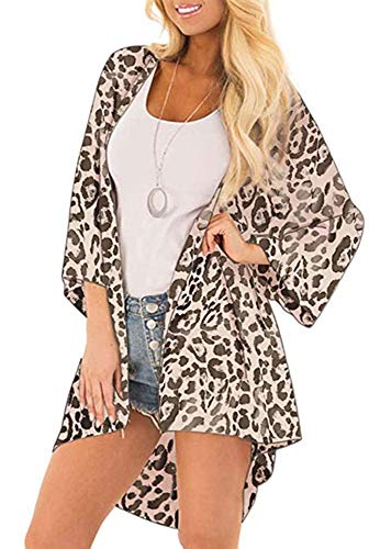 Womens Floral Kimono Cardigans Sheer Print Chiffon Loose Beach Cover ups ( Leopard Print,L