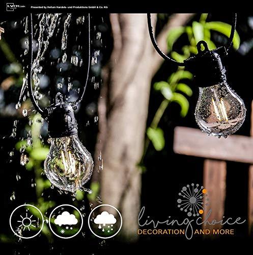 Lichterkette außen, Hellum LED Lichterkette Weihnachtsbaum, Glühbirnen Lichterkette warmweiß mit Fernbedienung und Timer, wasserdicht außen für Zimmer, Garten, Balkon, Party (Warmweiß)